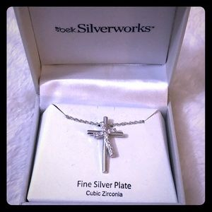 Silver works Doubled Cross Dainty Necklace